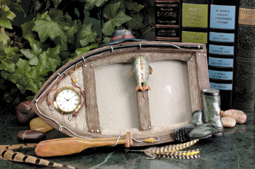 Fishing Boat Picture Frame with Clock