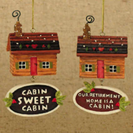 Cabin Ornaments - Pair W3419